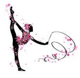 Gymnastiek- meisjessilhouet Vector Illustratie