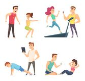 Gymnastiek opleiding Reeks karakters van de beeldverhaalsport stock illustratie