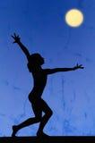 Gymnastiek- silhouet Royalty-vrije Stock Afbeeldingen