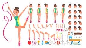 Gymnastiek Vrouwelijke Vector de geanimeerde reeks van de karakterverwezenlijking Gymnastiek- Vrouwen Volledige Lengte, Voor, Zij vector illustratie
