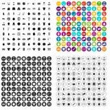 100 gymnastiekpictogrammen geplaatst vectorvariant stock illustratie