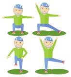 Gymnastik för äldre man Arkivfoton