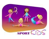 Gymnastik-Mädchen Vektorillustrations-Sportkinder Stockfotos