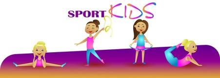 Gymnastik-Mädchen Vektorillustrations-Sportkinder Lizenzfreies Stockbild