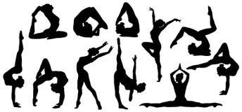 Gymnastik poserar konturn, uppsättning av den böjliga gymnastövningen stock illustrationer