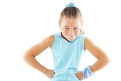 Gymnastikausbilder des kleinen Mädchens Lizenzfreie Stockfotos