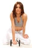 Gymnastikausbilder-Training Dumbbells der Eignung weibliche Stockfotos
