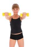 Gymnastikeignung-Mädchentraining ihre Karosserie mit Dumbbell Stockbilder