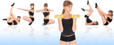 Gymnastikeignung-Mädchentraining ihre Karosserie mit Dumbbell Stockbild