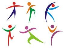 gymnastikfolksilhouettes Arkivfoto