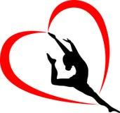 Gymnastiklogo gymnastidrottsman nen stock illustrationer