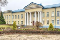 Gymnastiksallogoer Stad Dmitrov Royaltyfri Bild