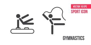 Gymnastikteckensymbol, logo Ställ in av sportvektorlinjen symboler Aerobisk och genomkörareövning för kondition, i idrottshall stock illustrationer