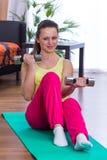 Gymnastique à la maison Photographie stock libre de droits