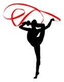 Gymnastique rhythmique - graphisme vectoriel coloré bande Silhouette de femme de gymnastique Photographie stock libre de droits