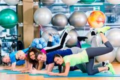 Gymnastische Gruppe in der Turnhalle trainierend und ausbildend stockfotografie