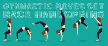 Gymnastiska flyttningar ställde in tillbaka handspringen Manga Cartoon Vector Illustration vektor illustrationer