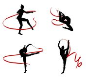 Gymnasts. Abstract illustration of gymnasts women silhouettes Royalty Free Stock Photos