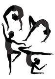 Gymnasts. Group of black silhouettes of female gymnasts in the gray leotard Stock Images