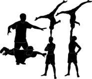 Gymnasts acrobats. Representation silhouette   vector Stock Image
