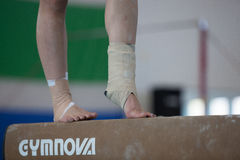 Gymnasts Girl Ankles Feet Beam Injury  Stock Photos