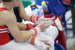 Gymnasts Hands Wrist Straps Stock Photography