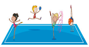 Gymnasts at the quadrangle. Illustration of the gymnasts at the quadrangle on a white background Stock Images