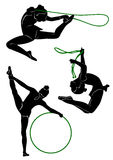 Gymnasts silhouette. Girl. Silhouettes of gymnasts with various sports subjects Stock Images