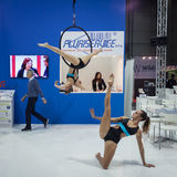Gymnasts at Smau exhibition in Milan, Italy Stock Images