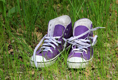 Gymshoes in grass Royalty Free Stock Image