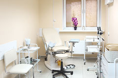 Gynecological chair. Gynecological room in private clinic stock image