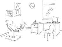 Gynecological office clinic graphic black white interior sketch illustration vector. Gynecological office clinic graphic black white interior sketch illustration Royalty Free Stock Photo