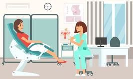 Gynecologist Consultation. Vector Illustration. royalty free stock photography