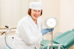Gynecologist portrait in the office royalty free stock photography