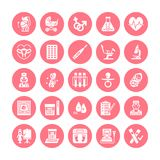 Gynecology, obstetrics vector flat glyph icons. Pregnancy medical elements - baby ultrasound, in vitro fertilization stock illustration