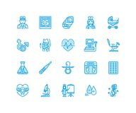 Gynecology, obstetrics vector flat line icons. Pregnancy medical elements - baby ultrasound, in vitro fertilization Royalty Free Stock Images