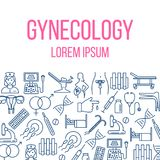 Gynecology poster with flat icons. Gynecology poster with flat line icons of pregnancy obstetrics gynecology diagnostic equipment symbols. vector illustration Royalty Free Stock Image