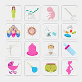 Gynecology and pregnancy icon set. Motherhood elements. Construc Royalty Free Stock Photo