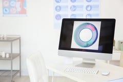 Gynekologikonsultation Bildskärm med den menstruations- cirkuleringen royaltyfri fotografi