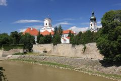 Gyor. The historic buildings along Raba river in Gyor, Hungary Stock Photos