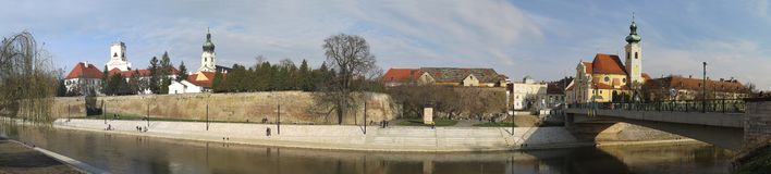 Gyor city centre from the river Raba. In Hungary Stock Photo