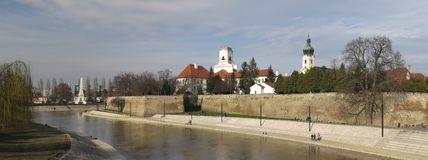 Gyor city centre from the river Raba. In Hungary Royalty Free Stock Image