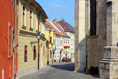 Gyor, Hungary. City in Western Transdanubia region. Old town street Stock Photos