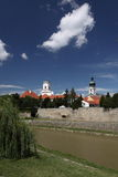 Gyor scenery. Represented by the river Raba in the forefront and the spires of churches in the backgrournd Royalty Free Stock Images