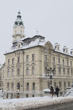 Gyor town hall in winter Stock Photos