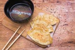 Gyoza饺子 普遍的日本食物 免版税库存照片
