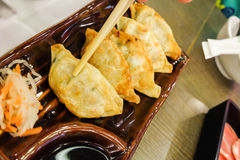 Gyoza asian vegeterian potstickers with soy sauce stock images