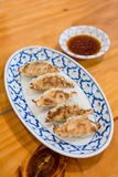 Gyoza avec de la sauce Image stock
