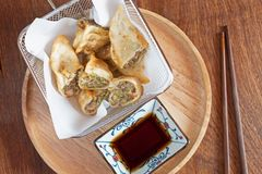 Chinese food shrimp and chicker fried roll snacks. royalty free stock photography