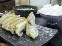 Gyoza com sopa e arroz do ovo Imagens de Stock Royalty Free